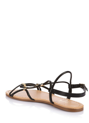DeFacto Tokalı Düz Taban Sandalet Siyah